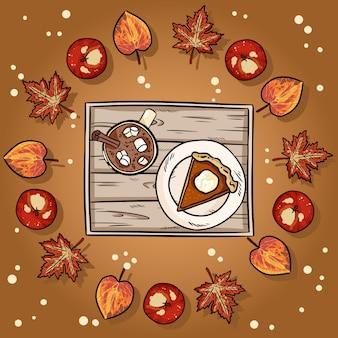 Ilustración de dibujos animados lindo pastel de calabaza y chocolate caliente de cacao en una corona de hojas de otoño ilustración.