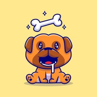 Ilustración de dibujos animados lindo perro pug hambriento con hueso