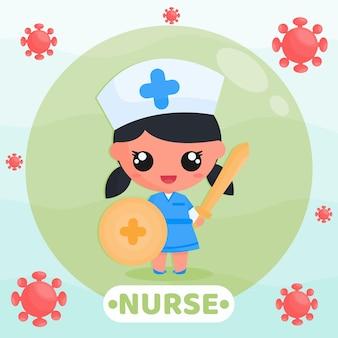 Ilustración de dibujos animados de lindo personaje de enfermera luchando contra el virus con espada y escudo en las manos