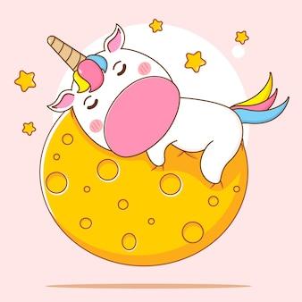 Ilustración de dibujos animados de lindo personaje de unicornio durmiendo en la luna