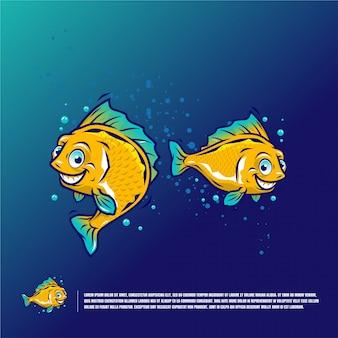 Ilustración de dibujos animados lindo pescado premium
