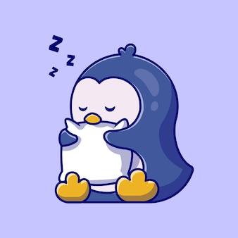 Ilustración de dibujos animados lindo pingüino durmiendo abrazo almohada