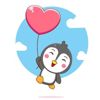 Ilustración de dibujos animados de lindo pingüino flotando con globo de amor