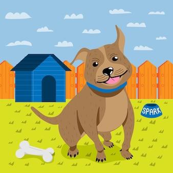 Ilustración de dibujos animados lindo pitbull
