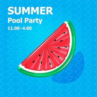 Ilustración de dibujos animados lindo plano de inflable o flotador en la tarjeta de invitación concepto de fiesta en la piscina de verano