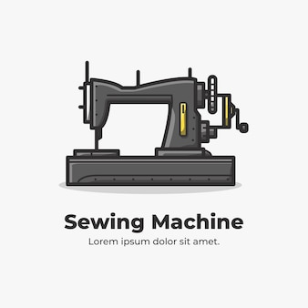 Ilustración de dibujos animados lindo plano de máquina de coser