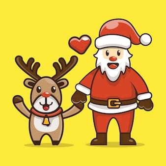 Ilustración de dibujos animados lindo reno y santa claus