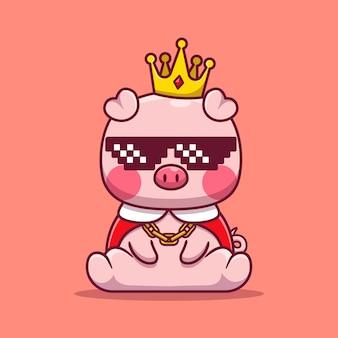 Ilustración de dibujos animados lindo rey cerdo con gafas. concepto animal aislado. caricatura plana