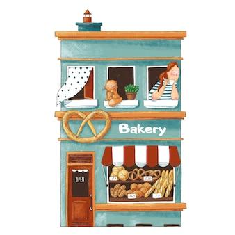 Ilustración de dibujos animados lindo de la tienda de panadería
