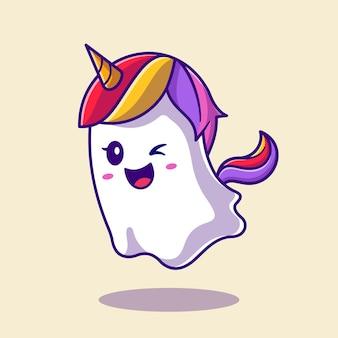 Ilustración de dibujos animados lindo unicornio fantasma. estilo de dibujos animados plana