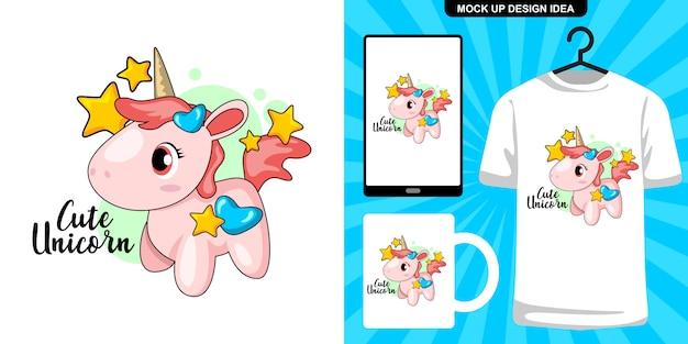 Ilustración de dibujos animados lindo unicornio y merchandising