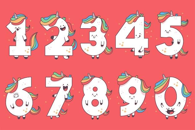 Ilustración de dibujos animados lindo unicornio números aislado sobre fondo.