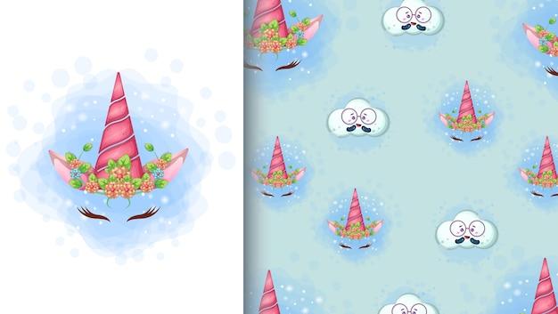 Ilustración de dibujos animados lindo unicornio y patrones sin fisuras