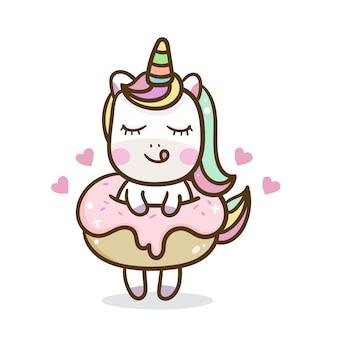 Ilustración de dibujos animados lindo de unicornio: serie ilustración de un pony de cuento de hadas muy lindo