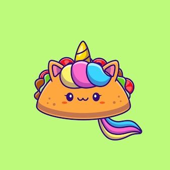 Ilustración de dibujos animados lindo unicornio taco. concepto de alimento animal aislado. caricatura plana