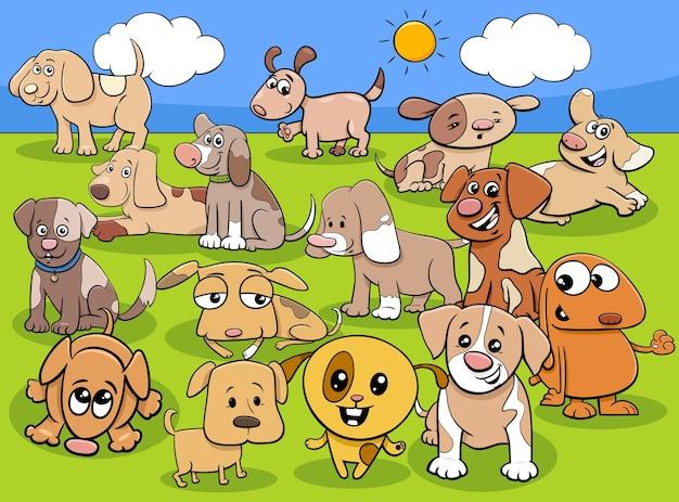 Ilustración de dibujos animados de lindos cachorros o perros pequeños grupo de personajes de animales