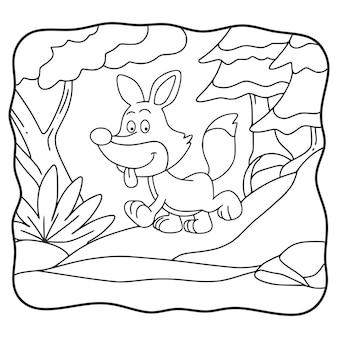 Ilustración de dibujos animados lobo caminando en el bosque para colorear libro o página para niños en blanco y negro