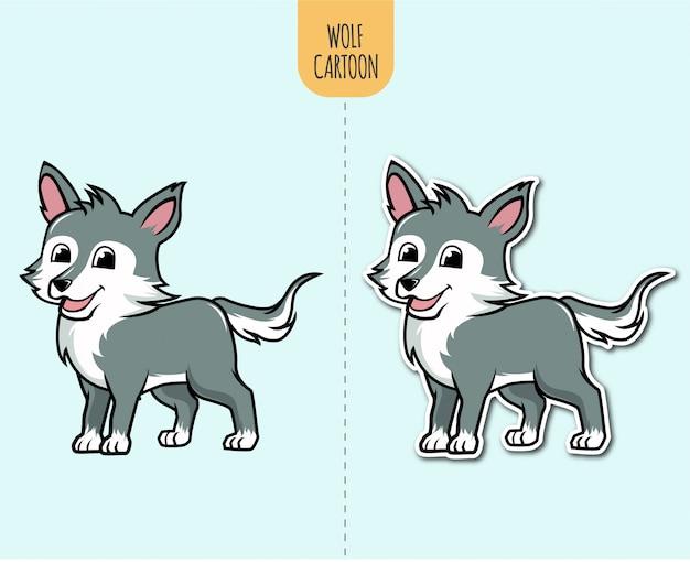 Ilustración de dibujos animados de lobo dibujado a mano con opción de diseño de etiqueta