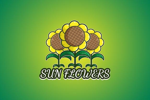 Ilustración de dibujos animados de logo de tres flores