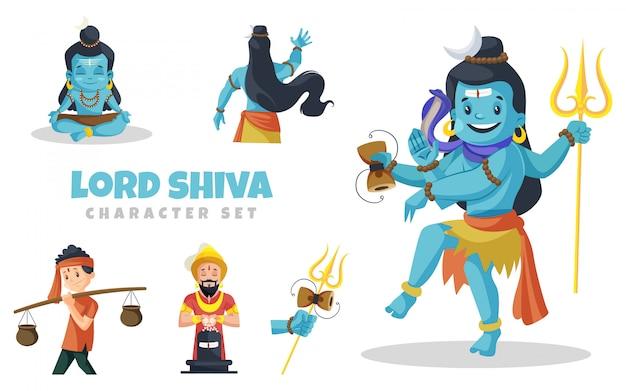 Ilustración de dibujos animados de lord shiva character set