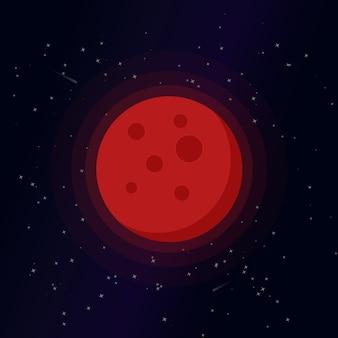 Ilustración de dibujos animados de luna de sangre, lindo clip art de vector de luna llena, luna aislada sobre fondo de noche estrellada.