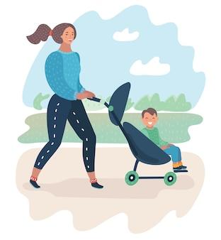 Ilustración de dibujos animados de la madre feliz con un cochecito de bebé en el parque