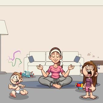 Ilustración de dibujos animados de mamá meditando