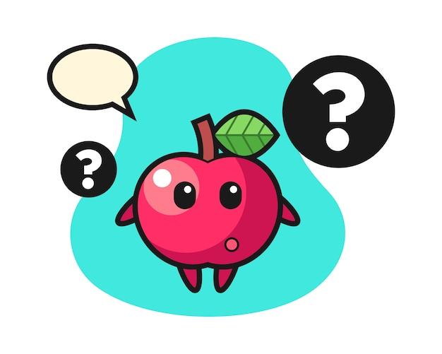 Ilustración de dibujos animados de manzana con el signo de interrogación