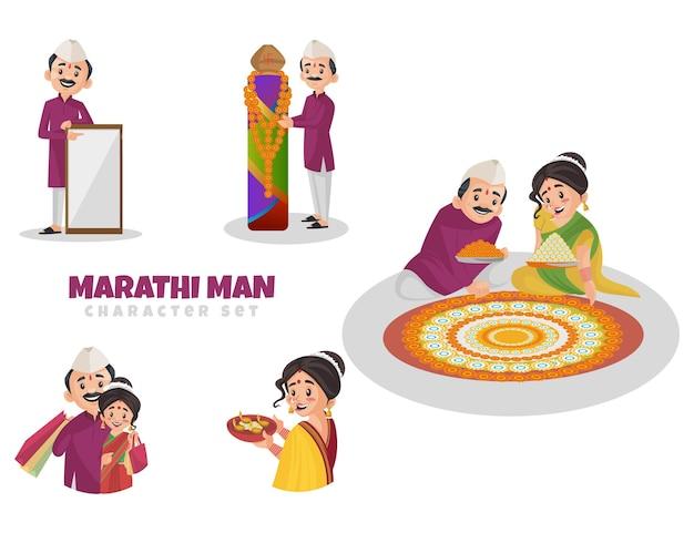 Ilustración de dibujos animados de marathi man character set