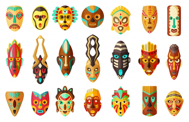 Ilustración de dibujos animados de máscara africana tribal