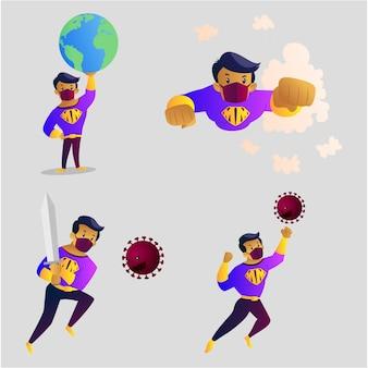 Ilustración de dibujos animados de mask man character set