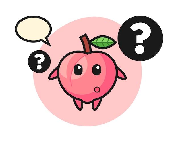 Ilustración de dibujos animados de melocotón con el signo de interrogación, diseño de estilo lindo para camiseta