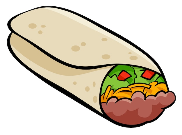 Ilustración de dibujos animados mexicanos burrito tortilla