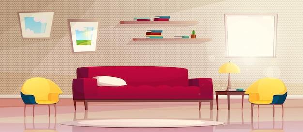 Ilustración de dibujos animados de la moderna sala de estar con muebles. un sofá rojo y sillones amarillos, una ventana con sol, cuadros en la pared y en el estante. concepto minimalista interior.