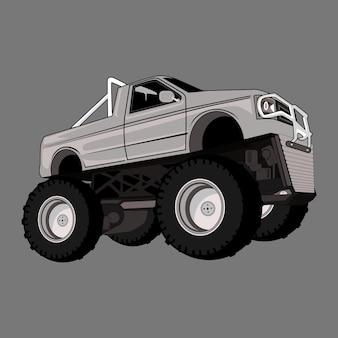 Ilustración de dibujos animados monster truck pie grande