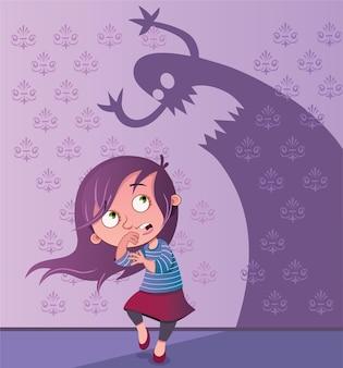 Ilustración de dibujos animados de una niña asustada