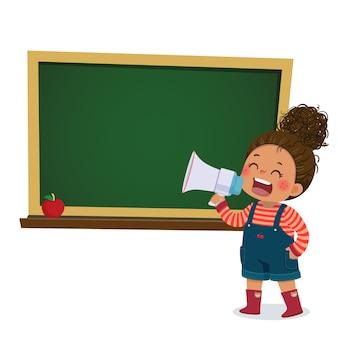 Ilustración de dibujos animados de una niña gritando por megáfono