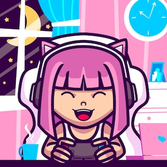 Ilustración de dibujos animados de niña jugar videojuegos