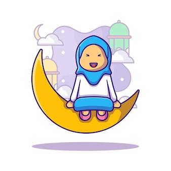 Ilustración de dibujos animados de niña musulmana saludo ramadan kareem