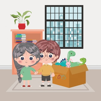 Ilustración de dibujos animados de niña y niño