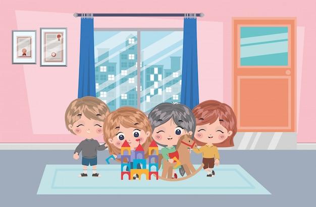 Ilustración de dibujos animados de niñas y niños
