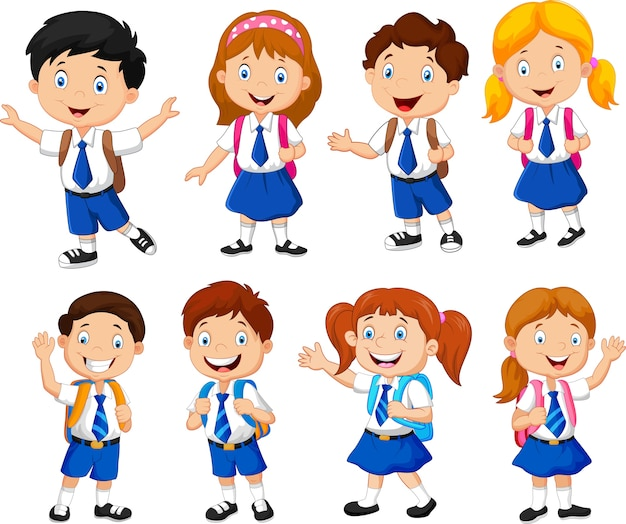 Ilustración de dibujos animados de niños en edad escolar