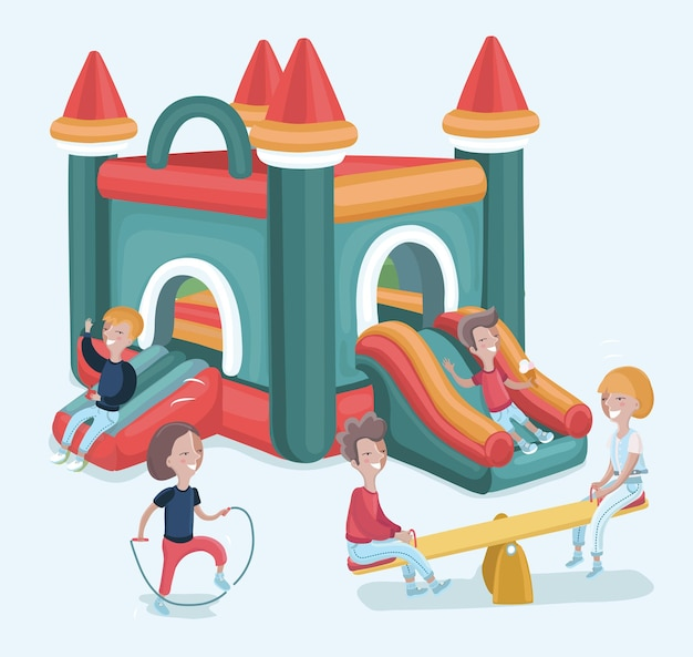 Ilustración de dibujos animados de niños emocionados que se divierten en un parque de atracciones inflable