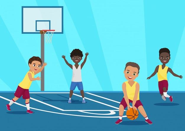 Ilustración de dibujos animados de niños jugando baloncesto en la escuela.