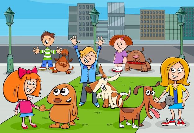 Ilustración de dibujos animados de niños con perros