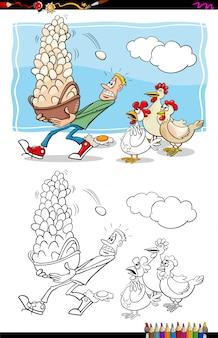 Ilustración de dibujos animados de no pongas todos tus huevos en una canasta diciendo actividad de libro para colorear