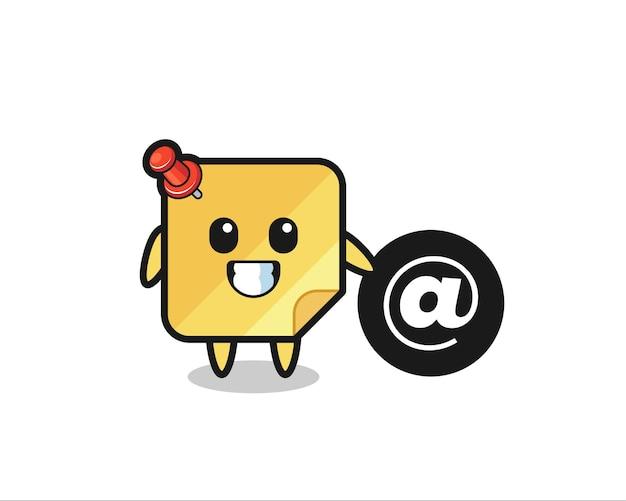 Ilustración de dibujos animados de una nota adhesiva de pie junto al símbolo at, diseño de estilo lindo para camiseta, pegatina, elemento de logotipo