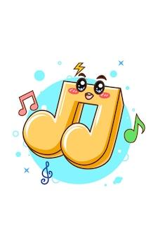 Ilustración de dibujos animados de notas musicales lindo y divertido