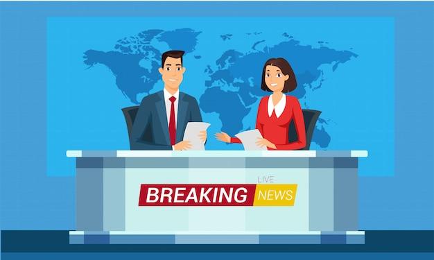 Ilustración de dibujos animados de noticias de última hora en vivo