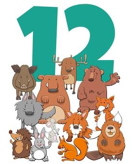 Ilustración de dibujos animados del número doce con divertido grupo de personajes de animales salvajes
